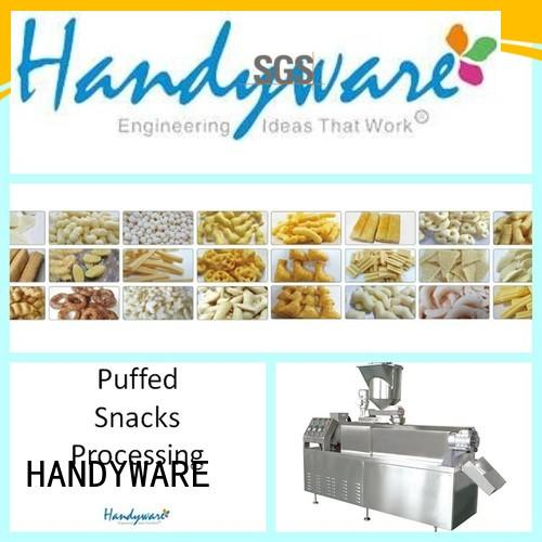 Custom chips puffed twin screw extruder HANDYWARE production